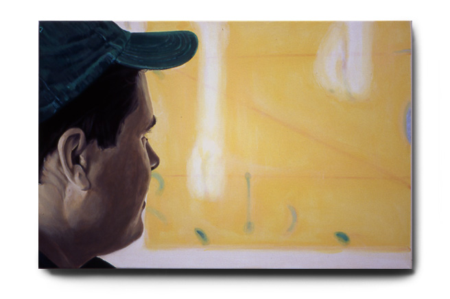 Roger Looking At Ciao, acrylic on canvas by Tom Hébert